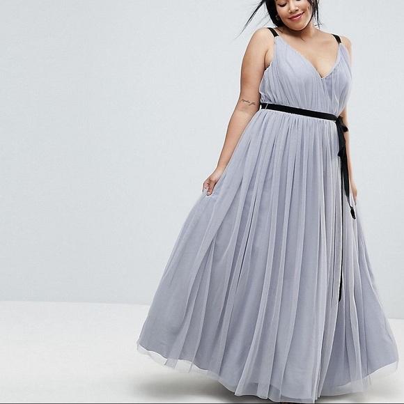 567284702bf ASOS Curve Dresses   Skirts - Gray Tulle Gown Prom Dress w Black Velvet  Ribbon